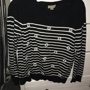 Black and White Striped Sweater with Jewels